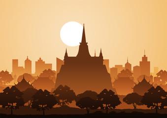 Fototapeta ancient, architecture, art, asia, asian, bangkok, bright, buddha, buddhism, buddhist, building, chedi, culture, drawing, famous, gold, golden, hill, history, illustration, landmark, landscape, line, m