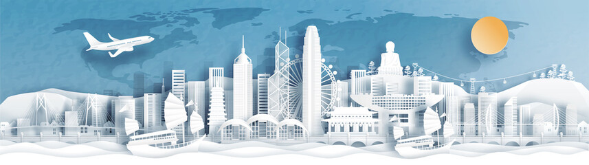 Fototapete - Panorama view of Hong Kong skyline with world famous landmarks of China in paper cut style vector illustration.