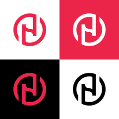 Circle N logo design template elements, creative letter N logo icon - Vector
