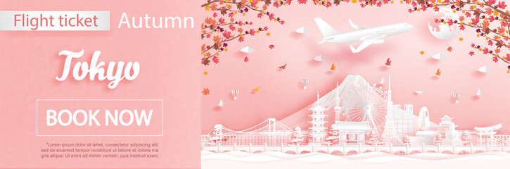Fototapete - Flight and ticket advertising template with travel to Tokyo, Japan in autumn season deal with falling maple leaves and famous landmarks in paper cut style vector illustration