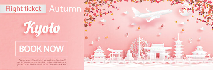 Fototapete - Flight and ticket advertising template with travel to Kyoto, Japan in autumn season deal with falling maple leaves and famous landmarks in paper cut style vector illustration