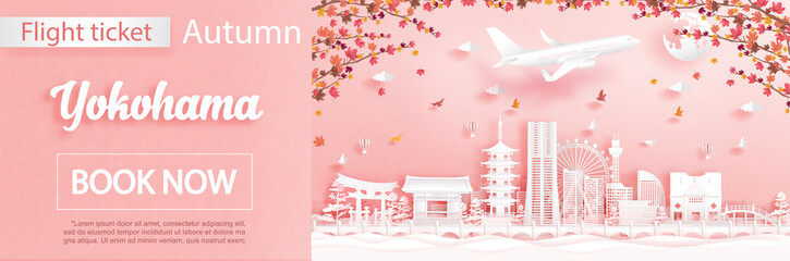Fototapete - Flight and ticket advertising template with travel to  Yokohama, Japan in autumn season deal with falling maple leaves and famous landmarks in paper cut style vector illustration