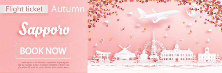 Fototapete - Flight and ticket advertising template with travel to Sapporo, Japan in autumn season deal with falling maple leaves and famous landmarks in paper cut style vector illustration
