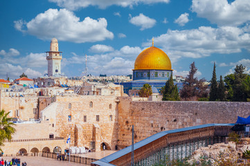 Wall Murals Place of worship Western wall dominated by the Dome of the Rock in Jerusalem