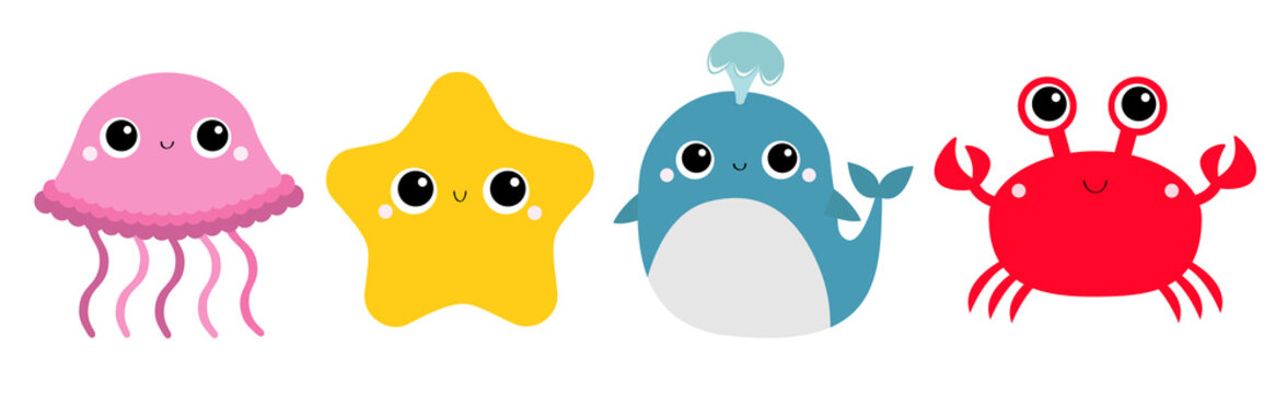 Whale Jellyfish Crab Starfish toy icon set line. Big eyes. Yellow star. Cute cartoon kawaii funny baby character. Sea ocean animal collection. Flat design. Kids print. White background. Isolated.