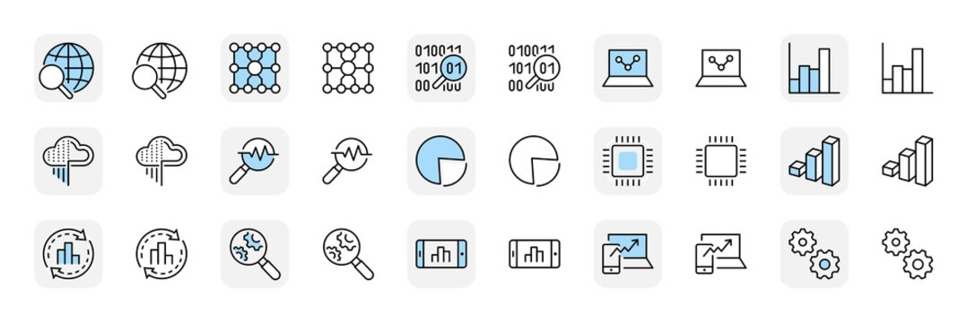 Yellow Set Data Analysis Related Technology Vector Line Icons. Contains such Icons as Charts, Search, Graphs, Traffic Analysis, Big Data and more. Editable Stroke. 32x32 Pixel Perfect