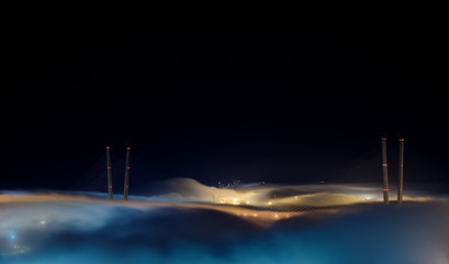 Wall Mural - Vladivostok cityscape night view. Fog over the city.