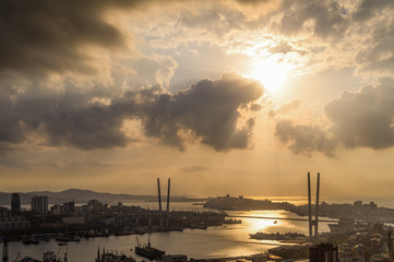 Wall Mural - Vladivostok cityscape, view at sunset.