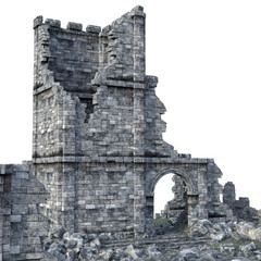 3D Rendered Ancient Castle Ruins on White Background - 3D Illustration