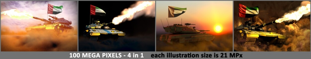 United Arab Emirates army concept - 4 very high resolution pictures of modern tank with fictional design with United Arab Emirates flag, military 3D Illustration