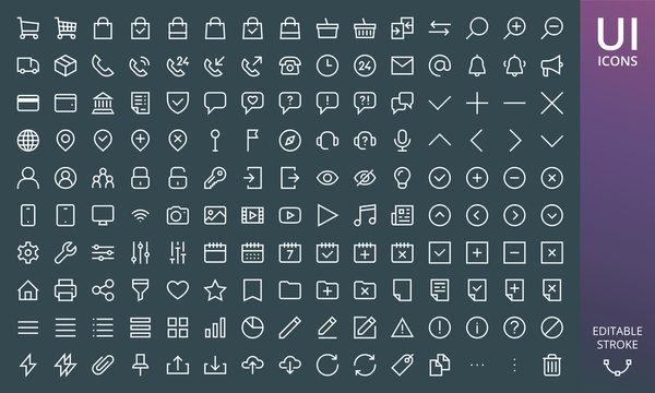 Rectangular style website icons ui material design set. Set of ecommerce and online shopping icons - cart, bag, delivery truck, payments, arrows, assistant, chat, filter, documents on dark background.