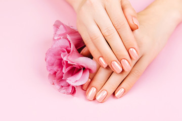 Aluminium Prints Manicure Beautiful Woman Hands with fresh eustoma. Spa and Manicure concept. Female hands with pink manicure. Soft skin skincare concept. Beauty nails. Over beige background