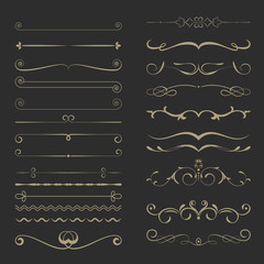 Vintage Calligraphic Design Page Dividers Set 4