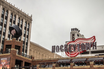 Detroit, Michigan, USA - March 28, 2018: The Hockeytown Cafe has been voted the best sports bar in Detroit. It features Detroit Tigers and Red Wings memorabilia and is owned by the Illitch family