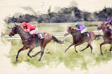 Racing horses and jockeys in speed approaching the finish line. Watercolor illustration