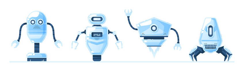 Robots set isolated. Cute cartoon design. Robot toys collection. Funny simple characters. Urban modern template. Retro vintage design. Realistic 3d objects. Flat style vector illustration.