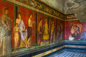The frescoes of Villa dei Misteri (Villa of the Mysteries), an ancient Roman villa at Pompeii ancient city, Italy