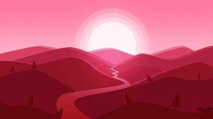 Deurstickers Candy roze sunset in the mountains