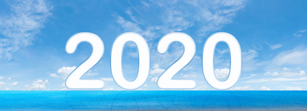 New Year 2020 is coming concept -  2020 a beach sand,