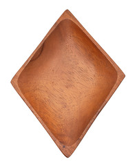 Wooden tray or wood dish diamond  shape for put Food. Made from nature help protect the environment isolate on white background.  top view and close up.Take at studio photo.