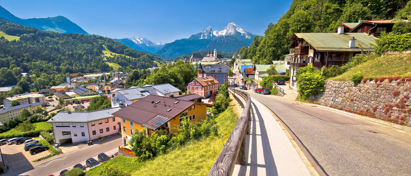 Town of Berchtesgaden and Alpine landscape panoramic view