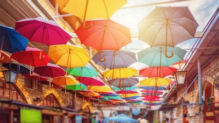 Limassol, Cyprus - 10.10.2019: Umbrellas in Limassol center street