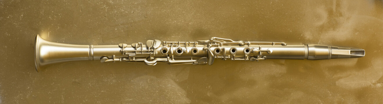 golden clarinet on a gold background