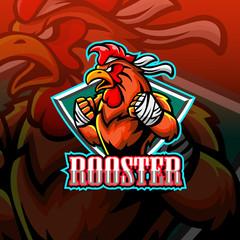 Rooster mascot esport logo design.
