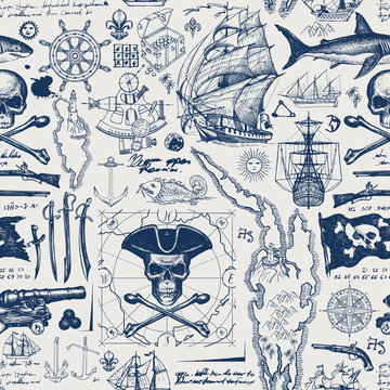 Vector abstract seamless pattern with skull, crossbones, pirate flag, swords, guns, caravels, old map and other nautical symbols. Vintage background with hand-drawn sketches, ink blots and stains