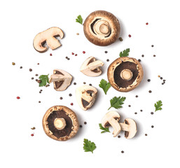 Obraz Fresh champignon mushrooms, herbs and spices on white background - fototapety do salonu