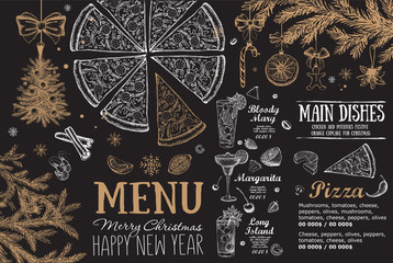 Christmas menu template. Happy New Year party. Hand drawn illustration