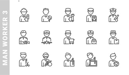 man worker 3 icon set. Outline Style. each made in 64x64 pixel