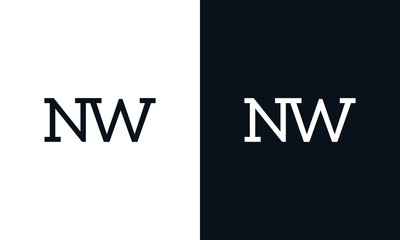 Creative line art letter NW logo. This logo icon incorporate with two letter in the modern way.