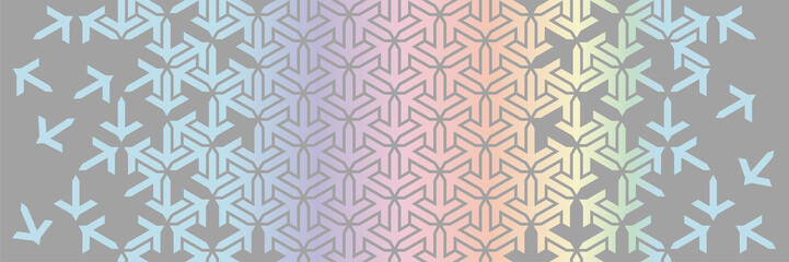 Geometric border. Islamic vector pattern. Colorful decor with mosaic and tile disintegration