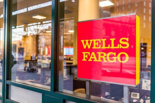 Washington DC, USA - March 4, 2017: Wells Fargo bank entrance with sign