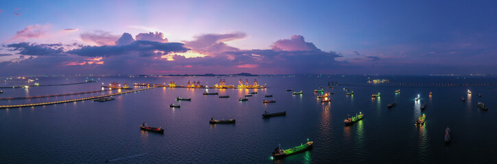 Oil/Chemical tanker ships over open sea at seaport Thailand. Oversea transportation, Import-Export Business and Logistic.