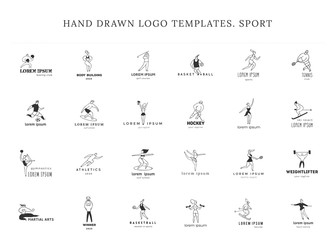 People in different sports. Set of vector hand drawn logo templates. Active way of life.