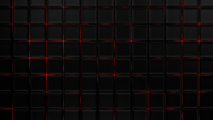 Wall Mural - Grey and red cubes modern background, 3d render illustration.