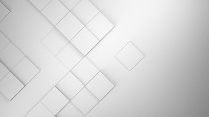 Wall Mural - White blank geometric cubes abstract background. 3d illustration, 3d rendering.