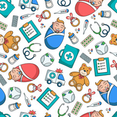 Vector seamless pattern on the theme of pediatrics and children's health on white background. Colored pattern wirh symbols of medicine