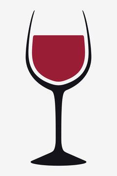 Vector Silhouette Wine Glass. Icon, Symbol, Logo. Alcohol Beverage