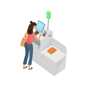 Self-service cashier or terminal isometric model. Woman customer is paying at the self-service counter using the touchscreen display. Self-service checkout vector concept