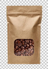 Blank brown kraft paper bag with coffee beans in transparent window on checkered background mockuu or mock up template including clipping path