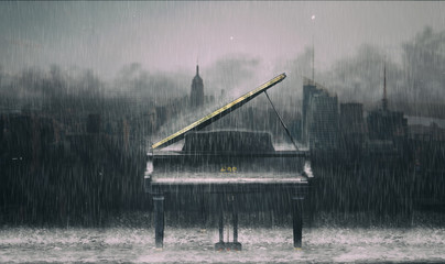 Printed roller blinds Gray traffic Piano in the rain