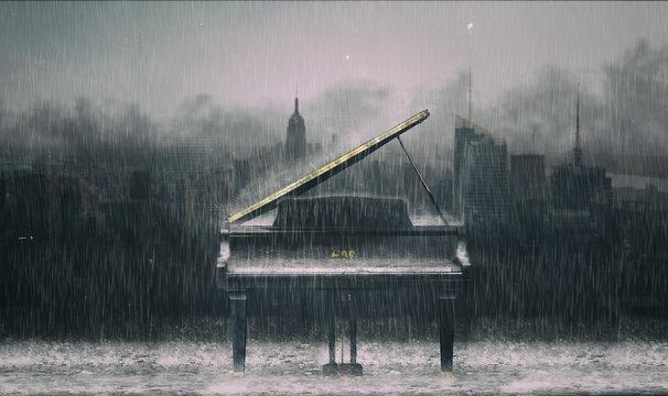 Piano in the rain