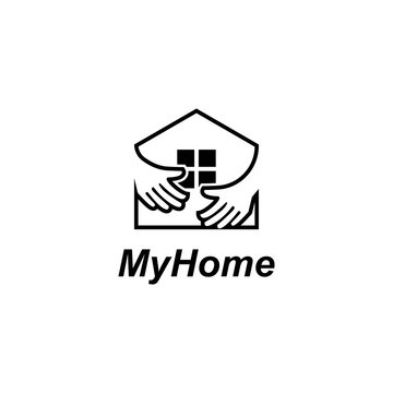 Home with hand logo design concept vector template.Hugged home illustration
