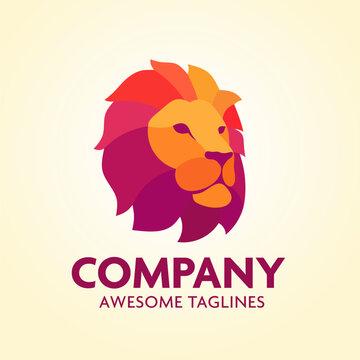 Colorful Creative Lion Head Logo Design Symbol Vector Illustration
