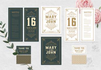Dark Green and White Wedding Invitation Set with Ornamental Elements