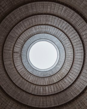 Round gray ceiling view