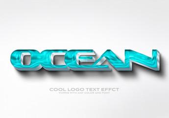 3D Blue Waves Text Effect